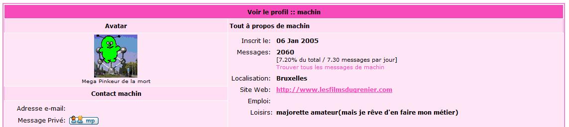 le profil de Laurent/Machin sur le forum de PInk TV